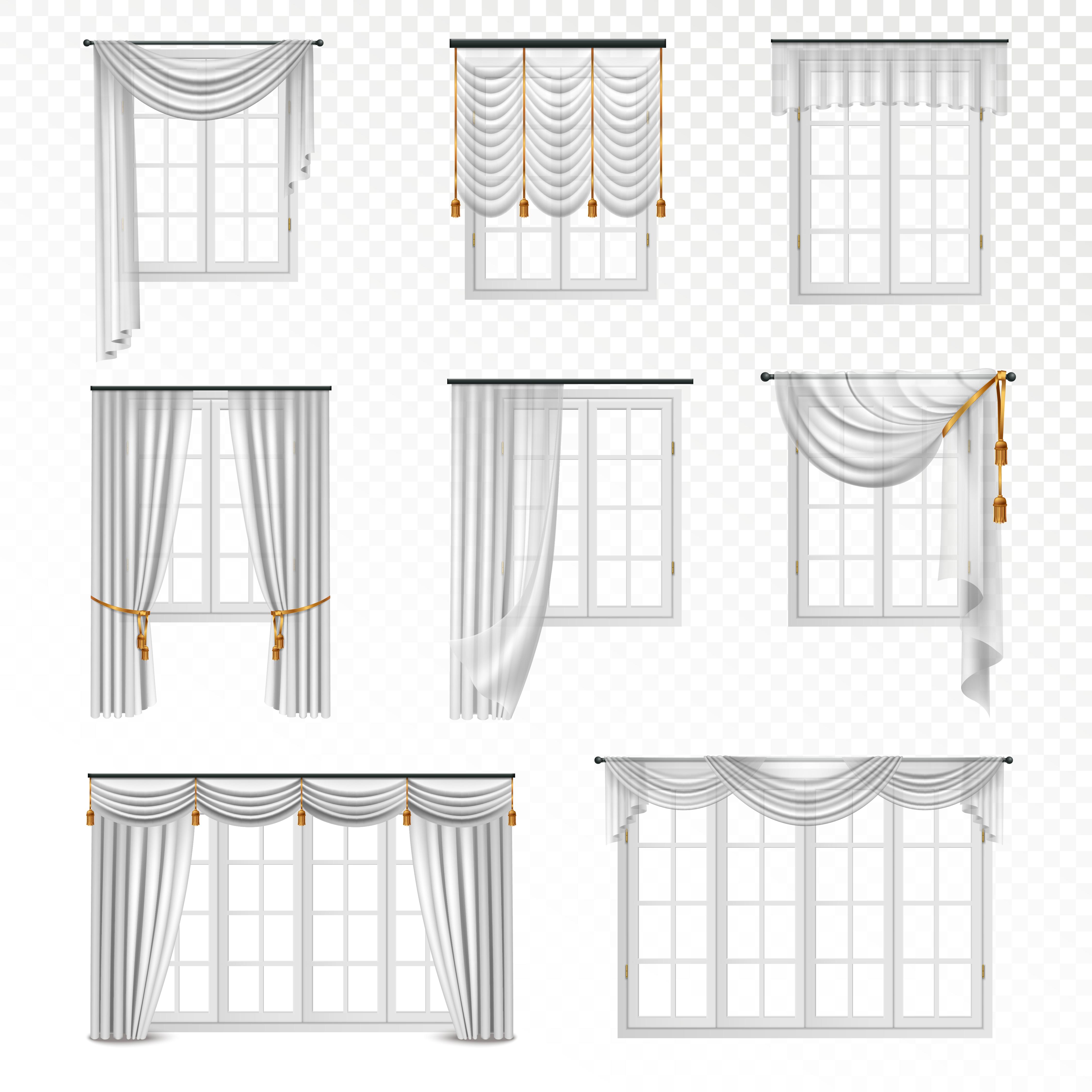 Realistic Curtain Windows Set Download Free Vectors Clipart Graphics Amp Vector Art