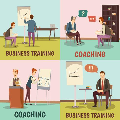 Set di icone di concetto di coaching