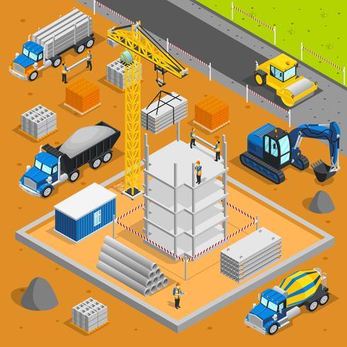 Composition isométrique de la zone de construction