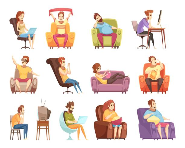 Sitzende Lebensstil-Retro- Karikatur-Ikonen eingestellt