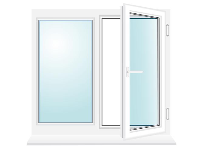 open kunststof glazen venster vectorillustratie