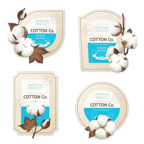 Set di icone pacchetto emblema di cotone
