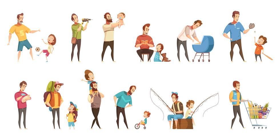 Fatherhood Retro Cartoon Icons Set