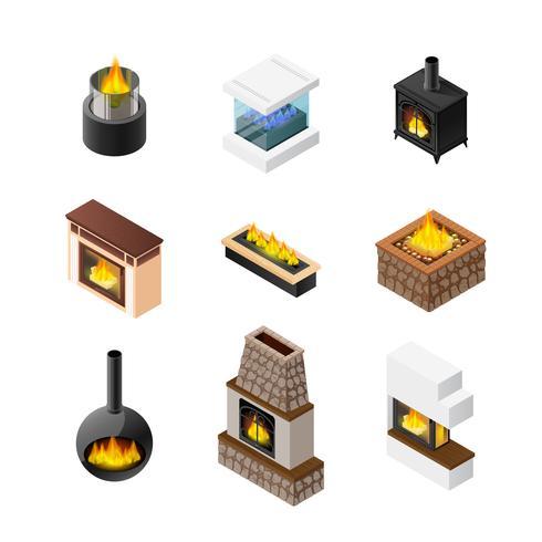 Isometric Fireplace Icon Set vector