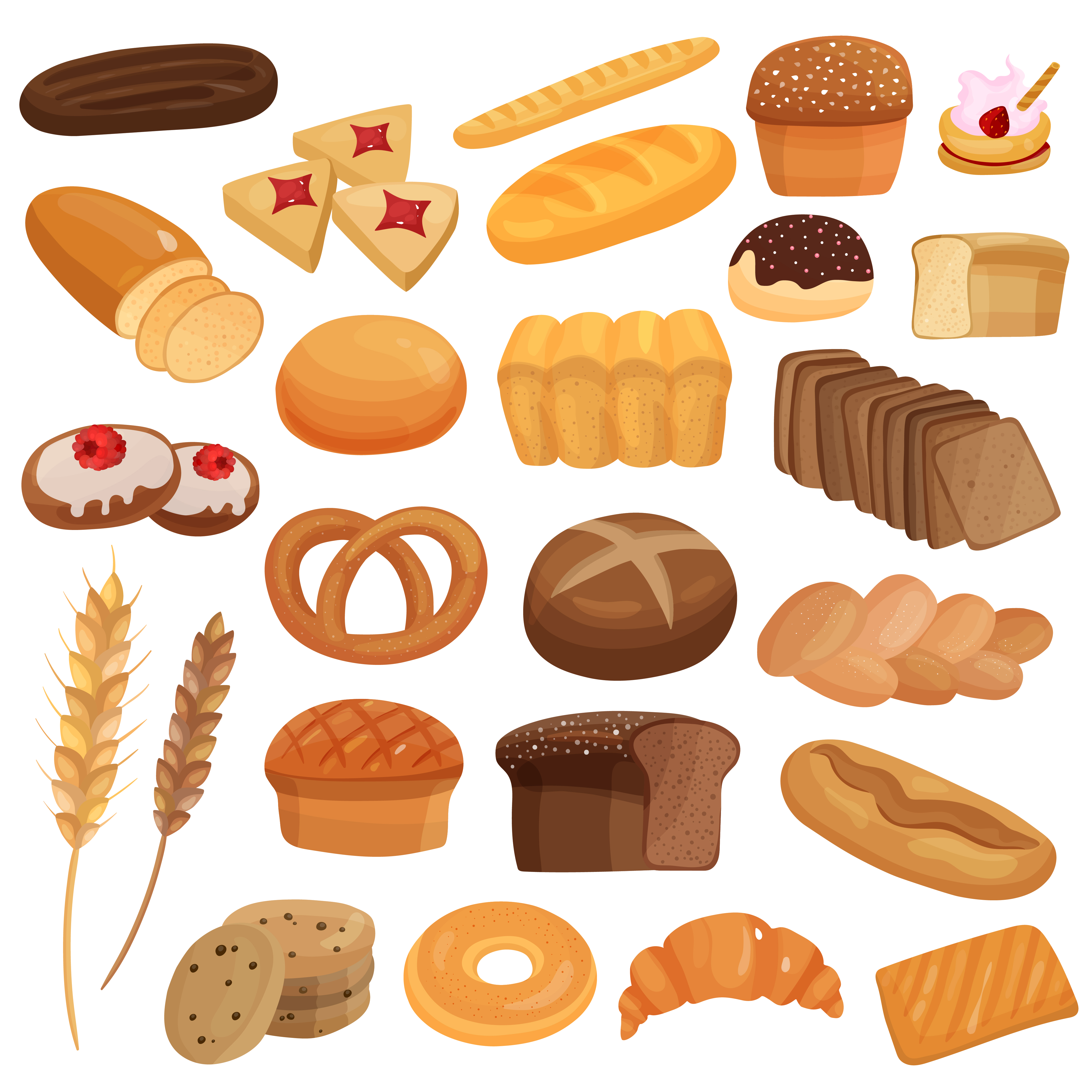 Bakery Products Set Download Free Vectors Clipart