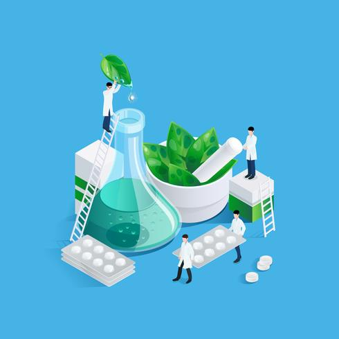 Midgets en medicatie Concept