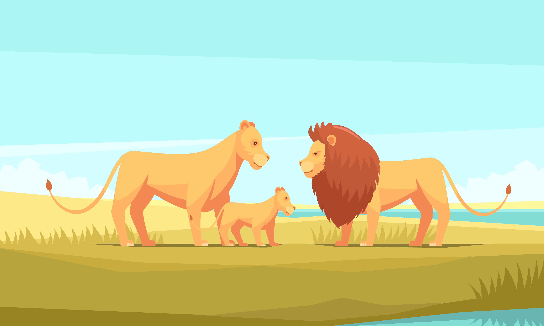 Composition De La Famille Du Lion Sauvage Telecharger Vectoriel