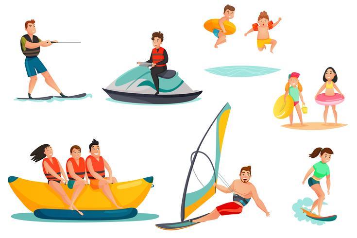 Set di attività acquatiche estive vettore