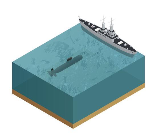 Composition de bateaux militaires 3d vecteur