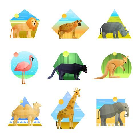 Conjunto de emblema poligonal de animales vector