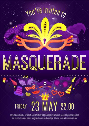 Masquerade Night Celebration Invitation Poster  vector