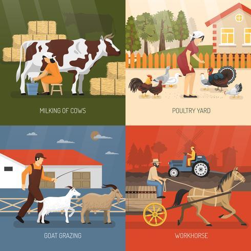 Conceito de Design de animais de fazenda vetor