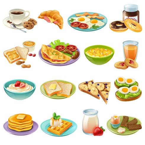 Ontbijtbrunch Menu Eten Icons Set vector