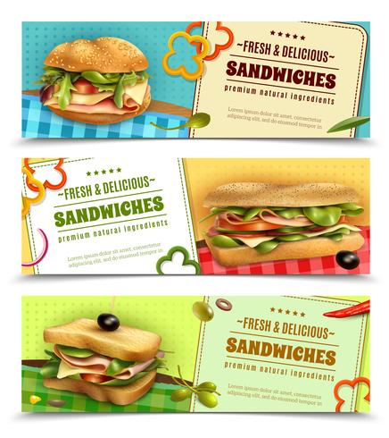 Healthy Fresh Sandwiches Advertisement Banners Set vector