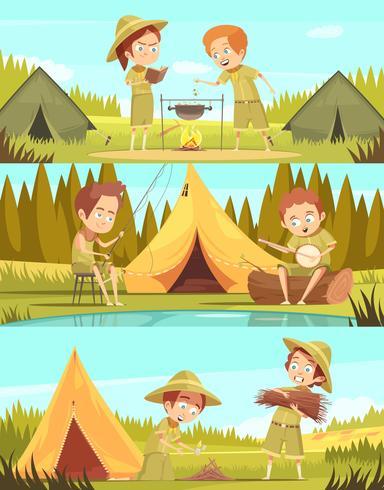 Scouts Activities Cartoon Banners Set