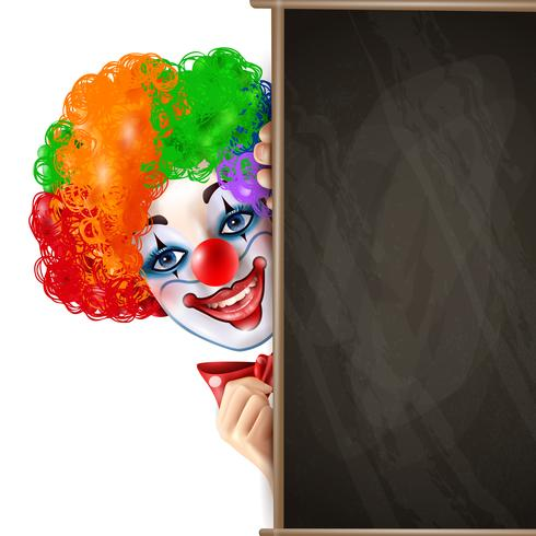 Clown Smiling Face From Behind Blackboard