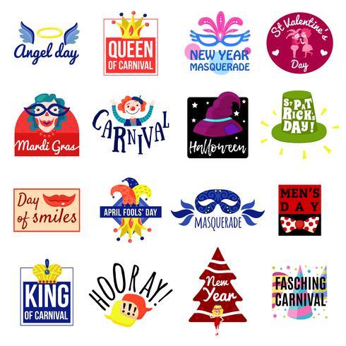 karneval emblem etikett logotyp set