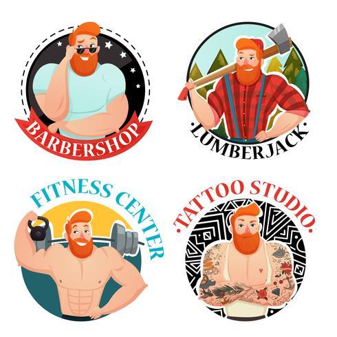 Quattro etichette con icone di uomini brutali