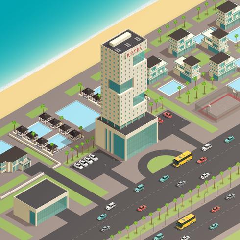 Costruttore di città isometrica con hotel di lusso