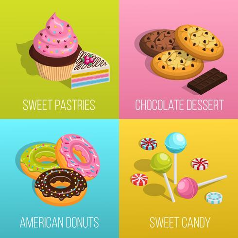 Conjunto de ícones de conceito de confeitaria
