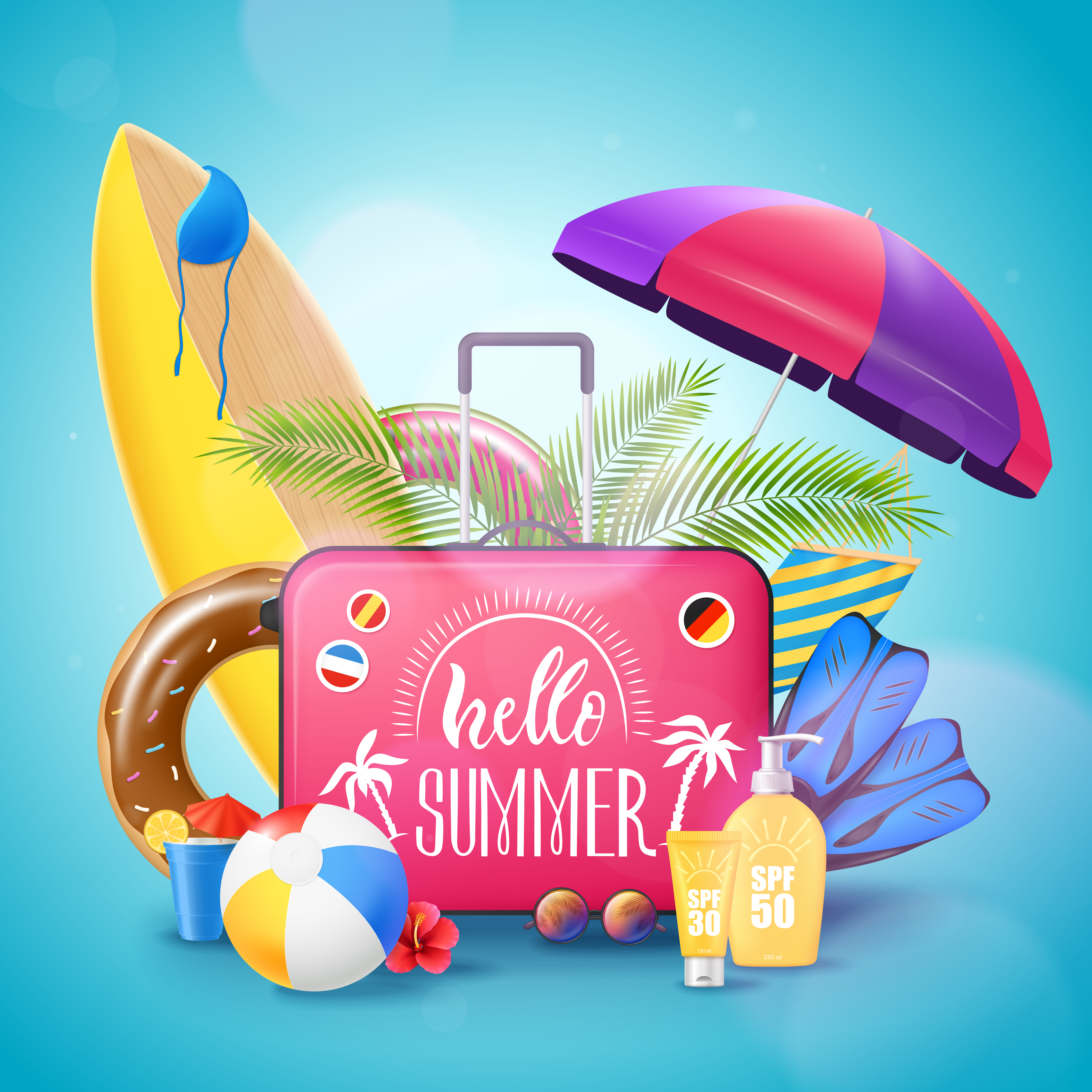 Summer Beach Vacation Background Poster - Download Free Vectors, Clipart Graphics & Vector Art