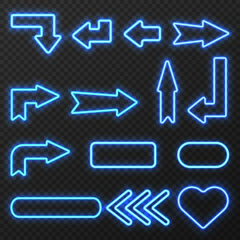 Conjunto de símbolos de flechas de signo de neón