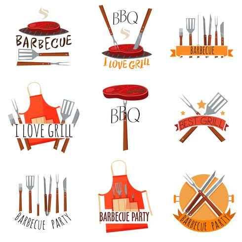 Barbecue Party Label Set vector