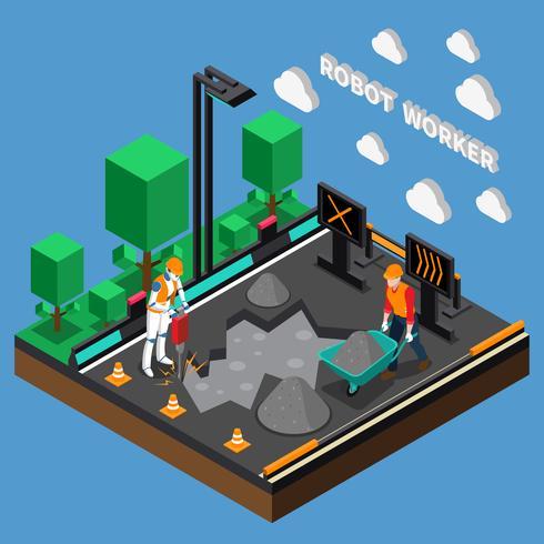 3D-ontwerpconcept van robotarbeiderberoepen