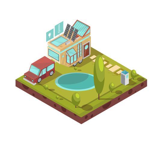 Ilustración isométrica de la casa móvil