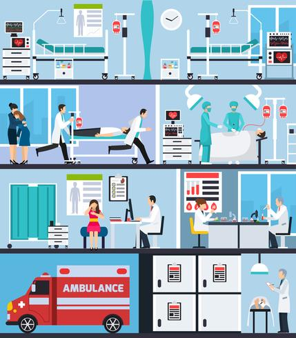 Hospital Interiör Flat Compositions