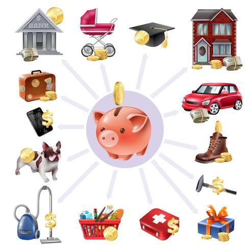 Money Box Spara Flat Icon Composition