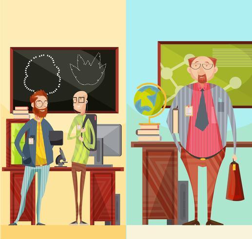 Bannières rétro verticales des enseignants