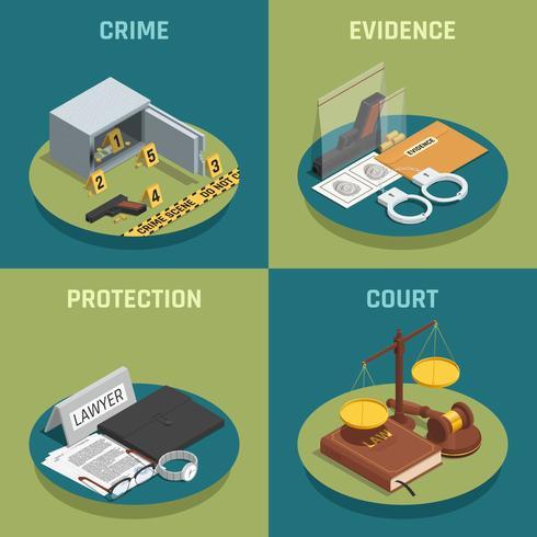 Law Justice Concept isometrische pictogrammen vector