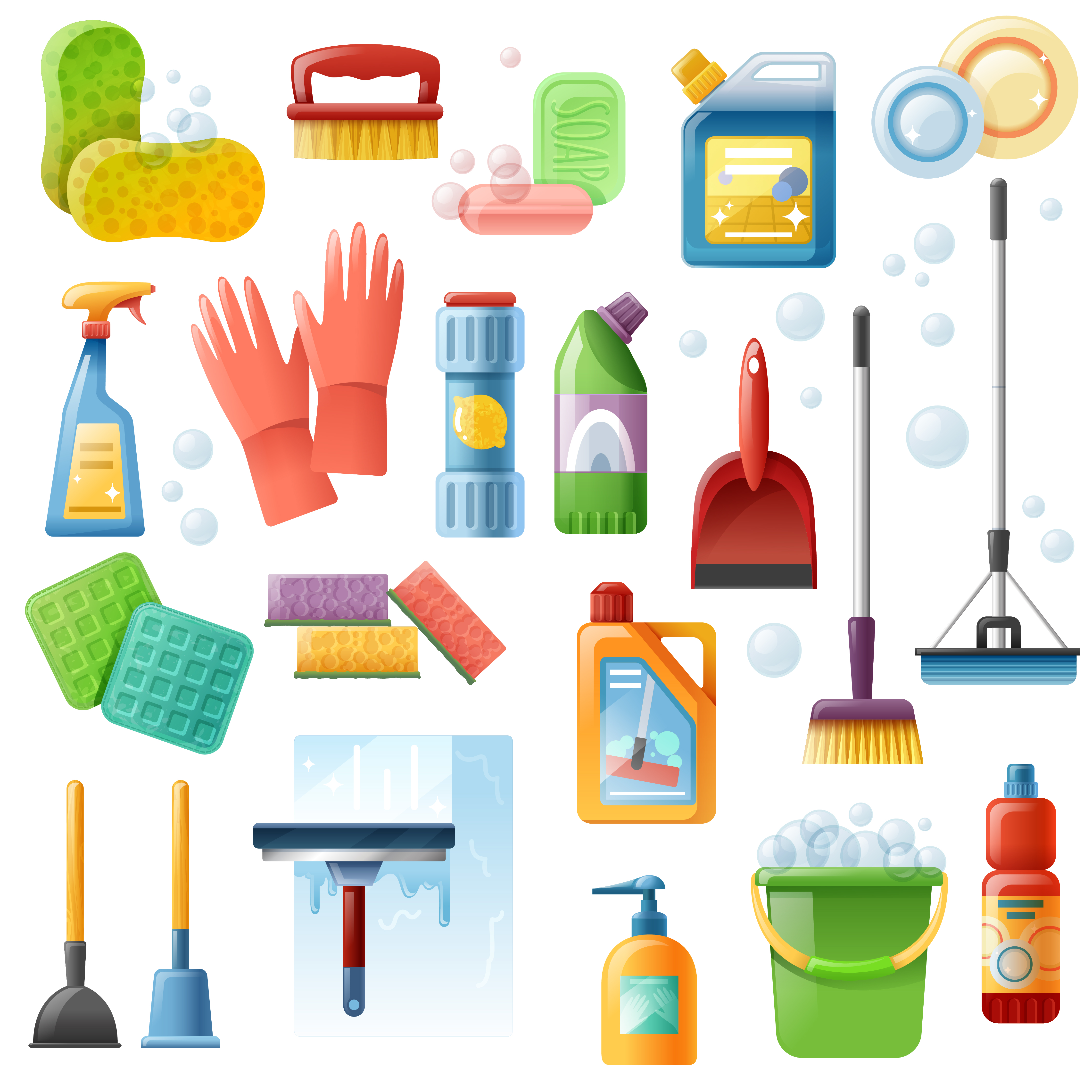 Household Supplies: Cleaning Supplies Tools Flat Icons Set