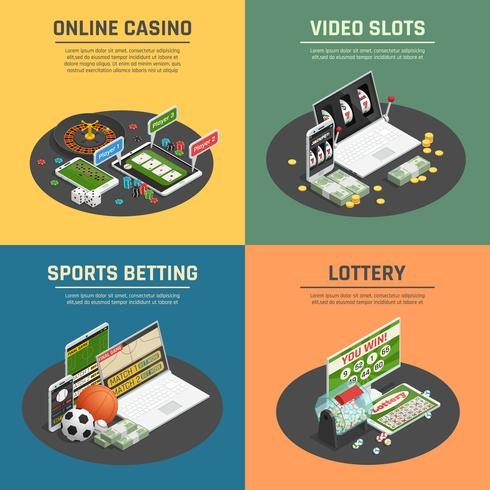 Casino en ligne 4 icônes isométriques
