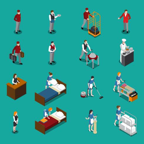 Hotel Staff Isometric Set