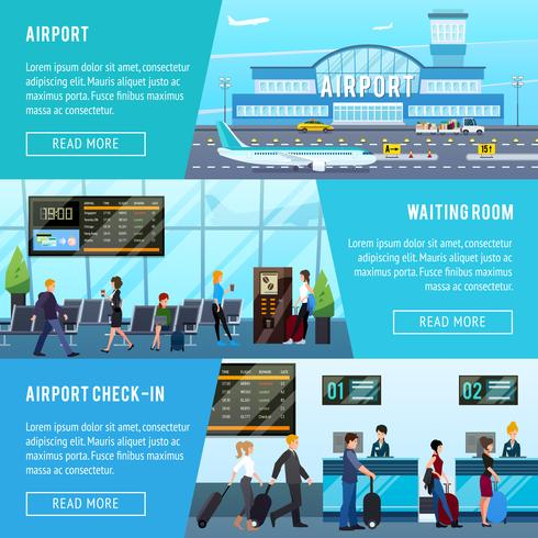 Conjunto de Banners horizontais de aeroporto