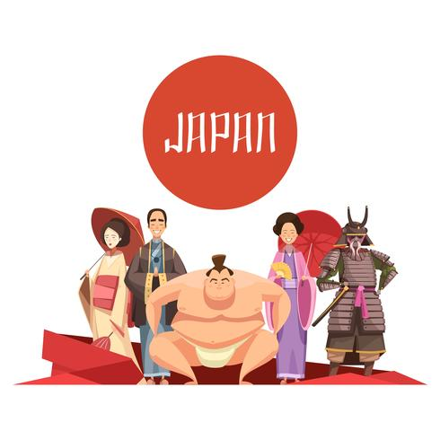 Japanische Personen Retro Cartoon Design vektor