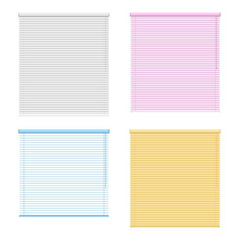 Cuatro persianas enrollables de ventana coloreadas