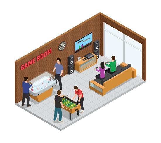 Home Game Club Interior Isometric Composition