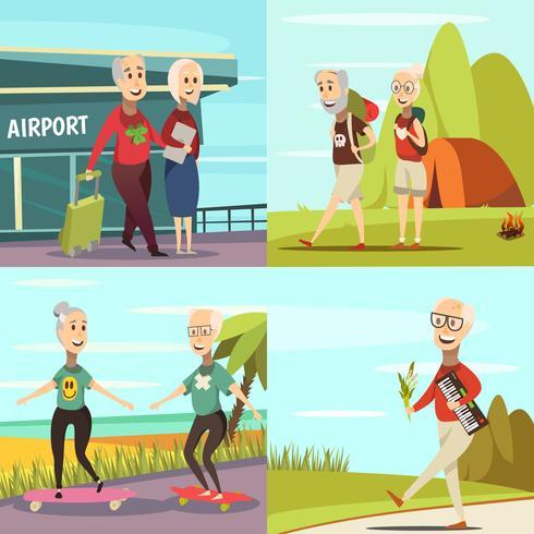 Oudere mensen Concept Icons Set