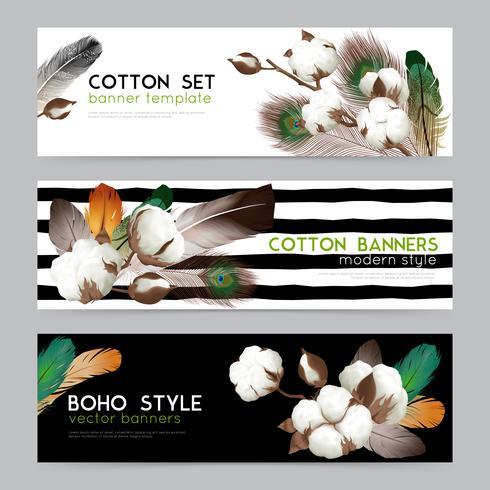 Cotton Bolls Boho  Banners Set  vector