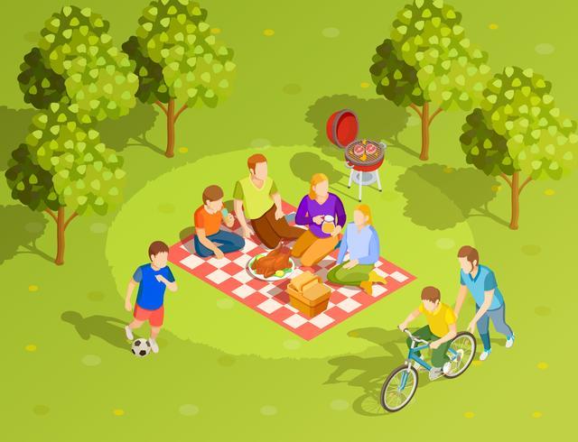 Familia verano campo picnic vista isométrica