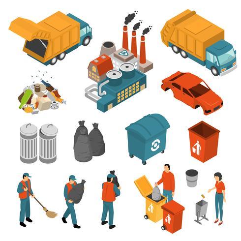 Conjunto de iconos de reciclaje de basura isométrica
