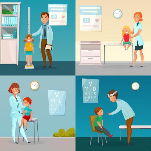 Niños visitan doctores dibujos animados composiciones