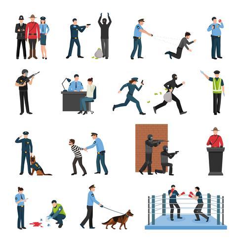 Police Team Training Flat Icons Set vector