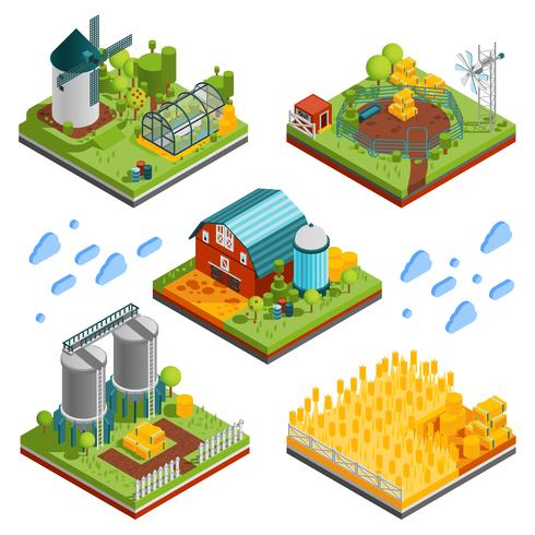 Elementos de paisagem rural fazenda vetor