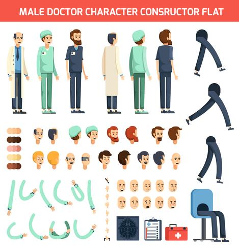 Male Doctor Character Constructor Flat vector