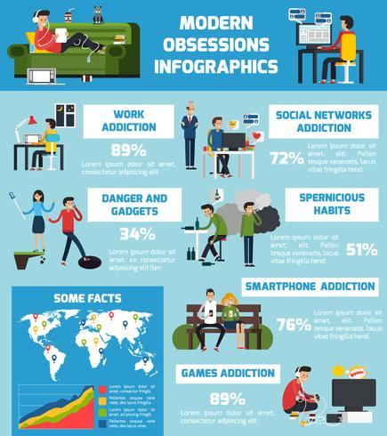 Moderne obsessies Infographics vector