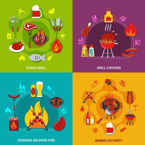 Cocinando en la parrilla de fuego abierto Parrilla y parrilla de pollo en la fiesta de barbacoa vector